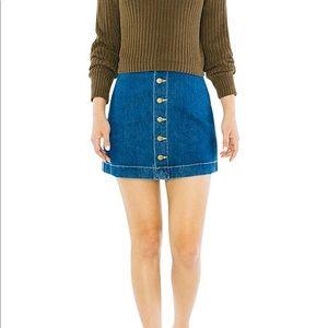 American Apparel Denim A Line Button Down Skirt